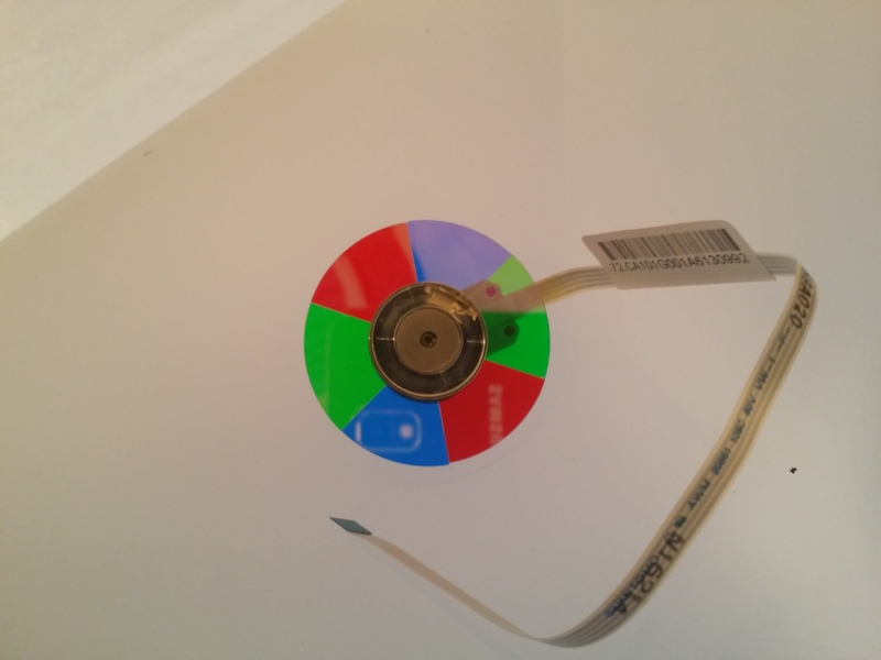 Fresh color wheel straight out of the cardboard box made mostly out of tape. (Is this a common Chinese shipping practice?)
